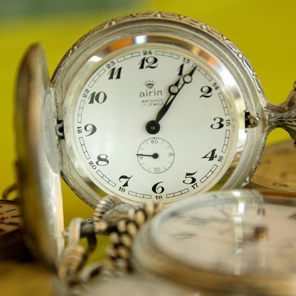 Pocket watch showing time